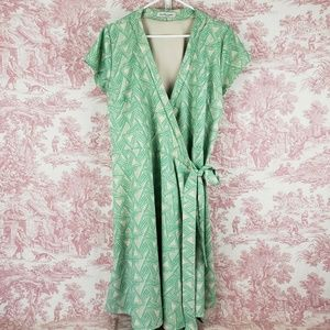 Shabby Apple Wrap Dress Plus Size Fit Flare Green
